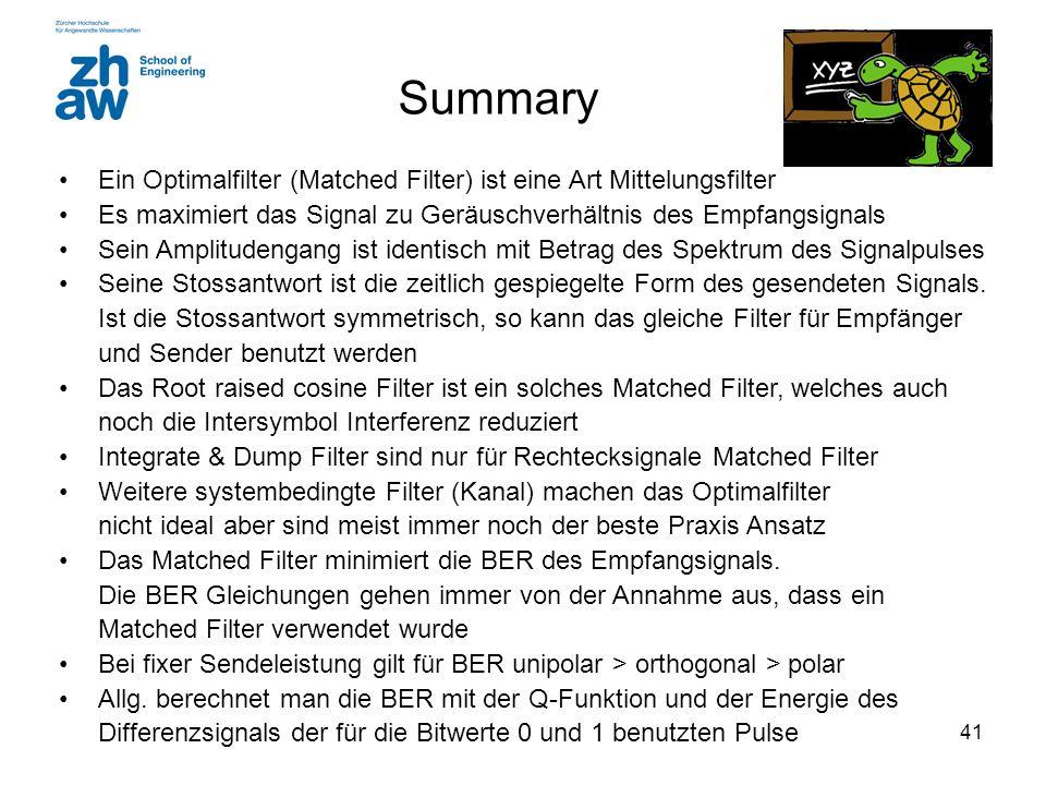 41 Summary Ein Optimalfilter (Matched Filter) ist eine Art Mittelungsfilter Es maximiert das Signal zu Geräuschverhältnis des Empfangsignals Sein Ampl