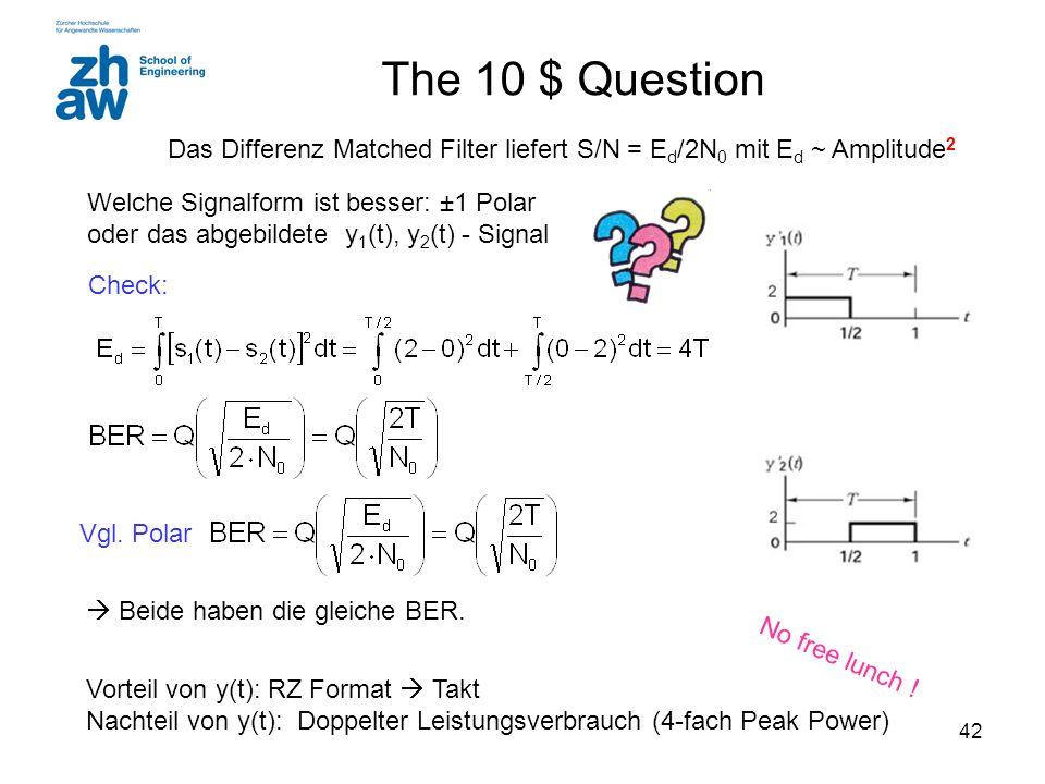 42 The 10 $ Question Welche Signalform ist besser: ±1 Polar oder das abgebildete y 1 (t), y 2 (t) - Signal Vgl. Polar  Beide haben die gleiche BER. V