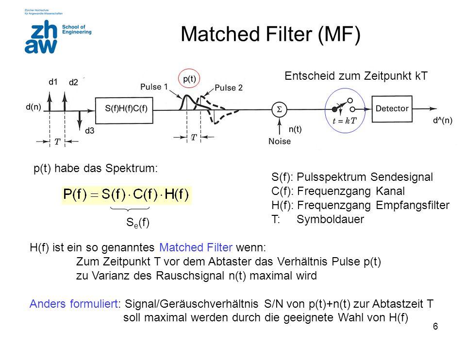7 Matched Filter (MF) Matched Filter mathematisch betrachtet (ohne Beweis): wird maximal bei weissem Rauschen wenn gilt: das heisst: Mit Vereinfachung* C(f) = 1 wird s e (t) = s(t) und: * konj.komplex Bsp.: *Note: allfällige Kanaldämpfung wird in s(t) berücksichtigt