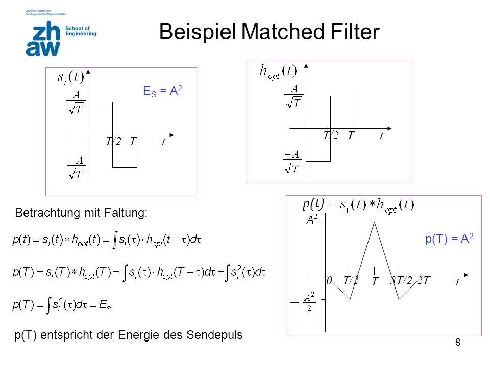 8 Beispiel Matched Filter TtTT/2Tt Betrachtung mit Faltung: Tt 02TT/23T/2 p(t) E S = A 2 p(T) entspricht der Energie des Sendepuls p(T) = A 2