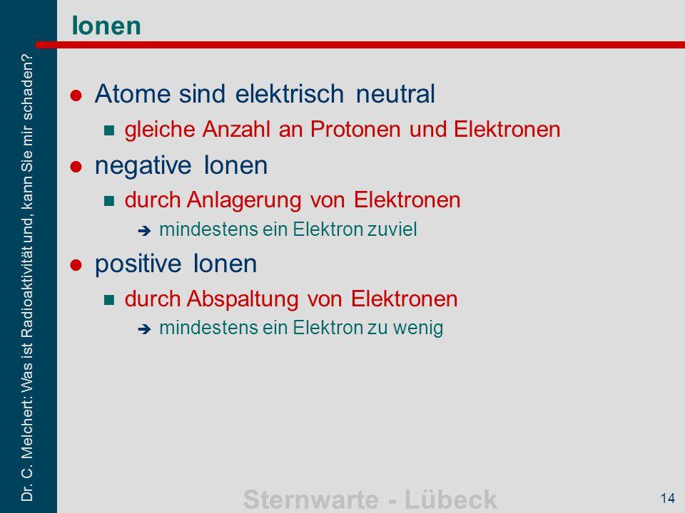 Dr. C. Melchert: Was ist Radioaktivität und, kann Sie mir schaden? Sternwarte - Lübeck 14 Ionen Atome sind elektrisch neutral gleiche Anzahl an Proton