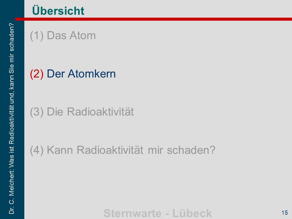 Dr. C. Melchert: Was ist Radioaktivität und, kann Sie mir schaden? Sternwarte - Lübeck 15 Übersicht (1)Das Atom (2)Der Atomkern (3)Die Radioaktivität