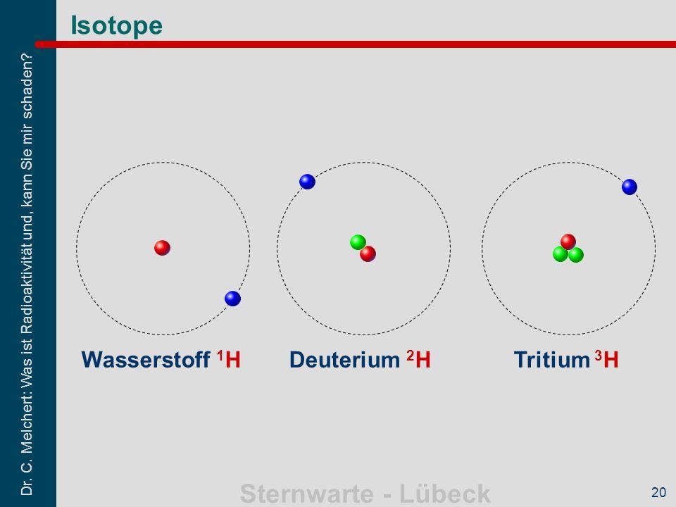 Dr. C. Melchert: Was ist Radioaktivität und, kann Sie mir schaden? Sternwarte - Lübeck 20 Isotope Wasserstoff 1 HDeuterium 2 HTritium 3 H