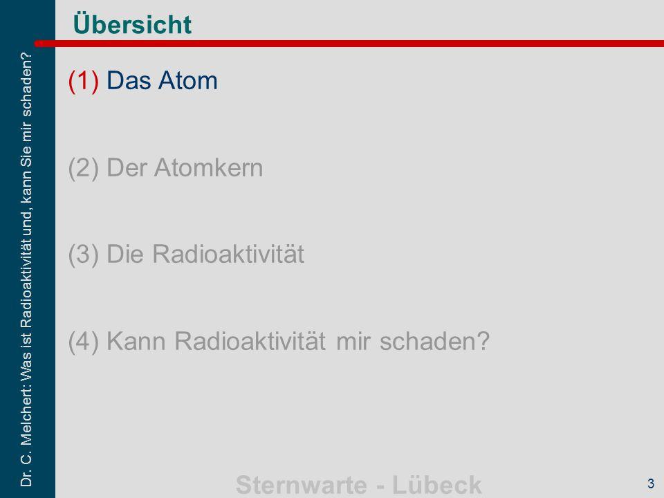 Dr. C. Melchert: Was ist Radioaktivität und, kann Sie mir schaden? Sternwarte - Lübeck 3 Übersicht (1)Das Atom (2)Der Atomkern (3)Die Radioaktivität (