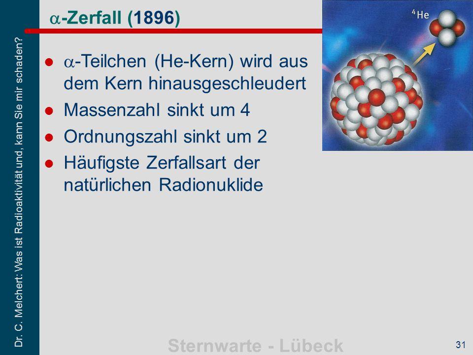 Dr. C. Melchert: Was ist Radioaktivität und, kann Sie mir schaden? Sternwarte - Lübeck 31  -Zerfall (1896)  -Teilchen (He-Kern) wird aus dem Kern hi