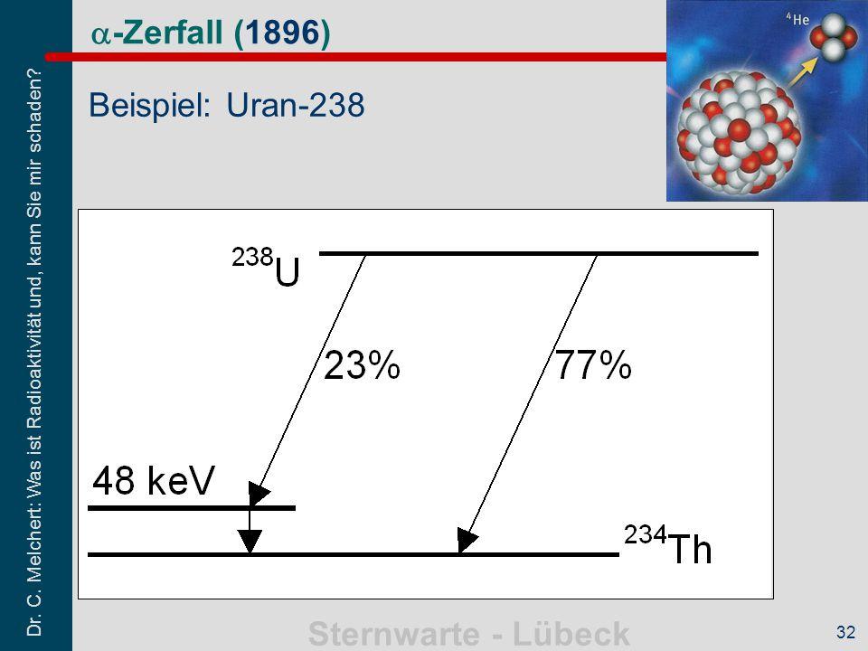 Dr. C. Melchert: Was ist Radioaktivität und, kann Sie mir schaden? Sternwarte - Lübeck 32  -Zerfall (1896) Beispiel: Uran-238