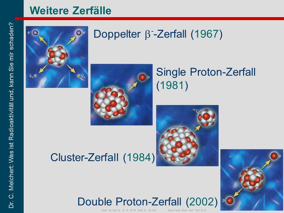Dr. C. Melchert: Was ist Radioaktivität und, kann Sie mir schaden? Sternwarte - Lübeck 42 Weitere Zerfälle Double Proton-Zerfall (2002) Cluster-Zerfal