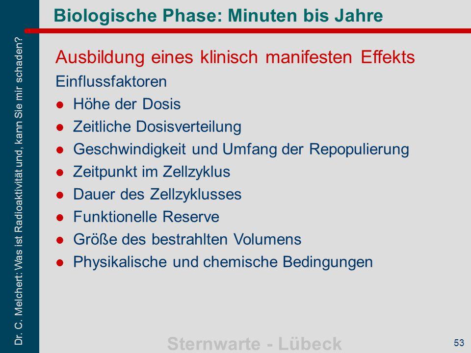 Dr. C. Melchert: Was ist Radioaktivität und, kann Sie mir schaden? Sternwarte - Lübeck 53 Biologische Phase: Minuten bis Jahre Ausbildung eines klinis