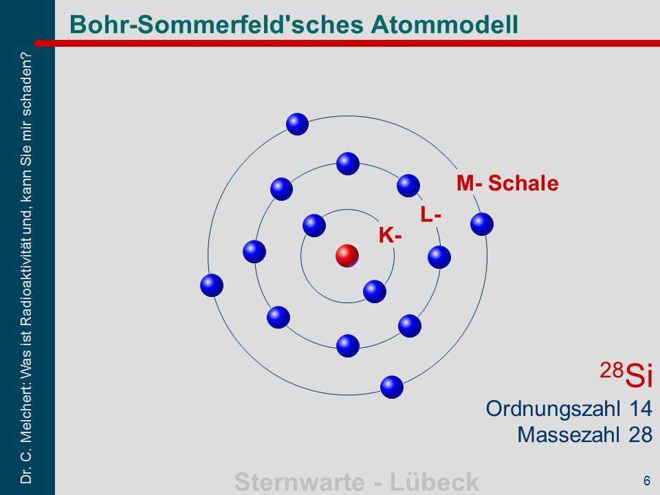 Dr. C. Melchert: Was ist Radioaktivität und, kann Sie mir schaden? Sternwarte - Lübeck 6 Bohr-Sommerfeld'sches Atommodell K- L- M- Schale 28 Si Ordnun