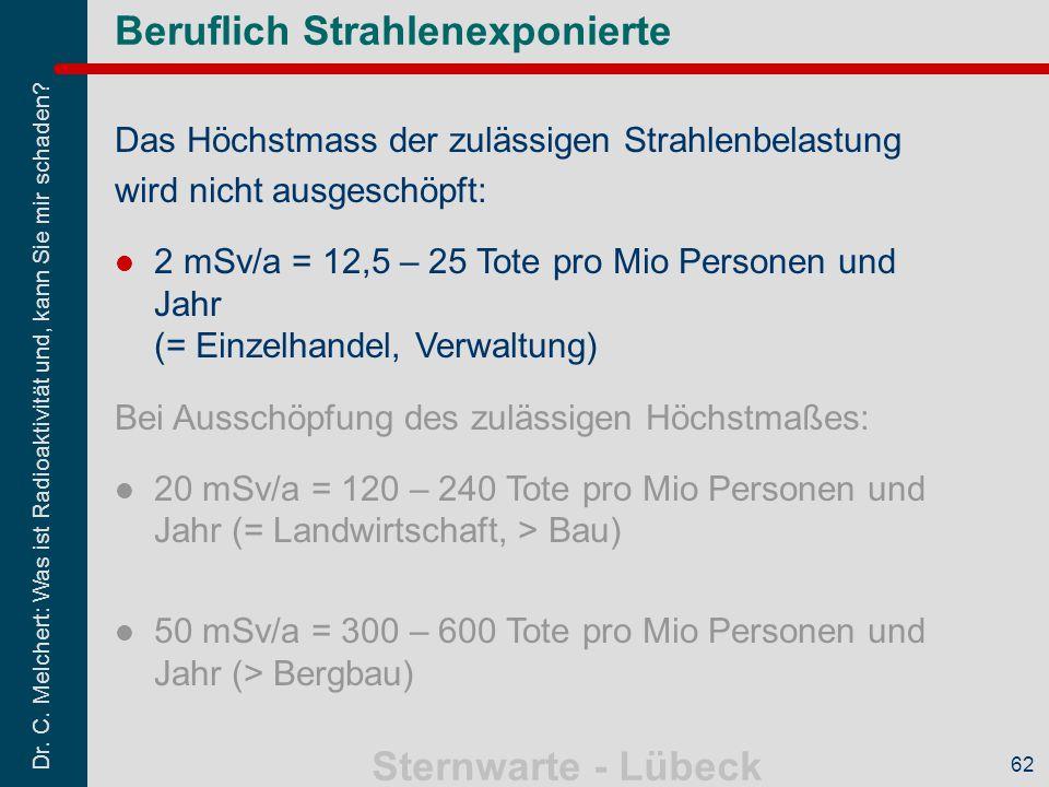 Dr. C. Melchert: Was ist Radioaktivität und, kann Sie mir schaden? Sternwarte - Lübeck 62 Das Höchstmass der zulässigen Strahlenbelastung wird nicht a