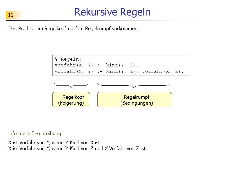 11 Rekursive Regeln Das Prädikat im Regelkopf darf im Regelrumpf vorkommen. % Regeln: vorfahr(X, Y) :- kind(Y, X). vorfahr(X, Y) :- kind(Y, Z), vorfah