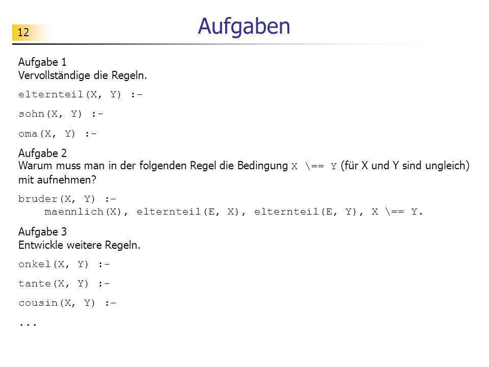 12 Aufgaben Aufgabe 1 Vervollständige die Regeln. elternteil(X, Y) :- sohn(X, Y) :- oma(X, Y) :- Aufgabe 2 Warum muss man in der folgenden Regel die B