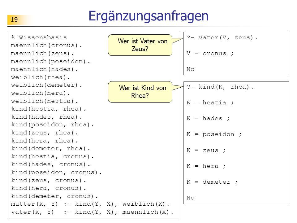 19 Ergänzungsanfragen % Wissensbasis maennlich(cronus). maennlich(zeus). maennlich(poseidon). maennlich(hades). weiblich(rhea). weiblich(demeter). wei