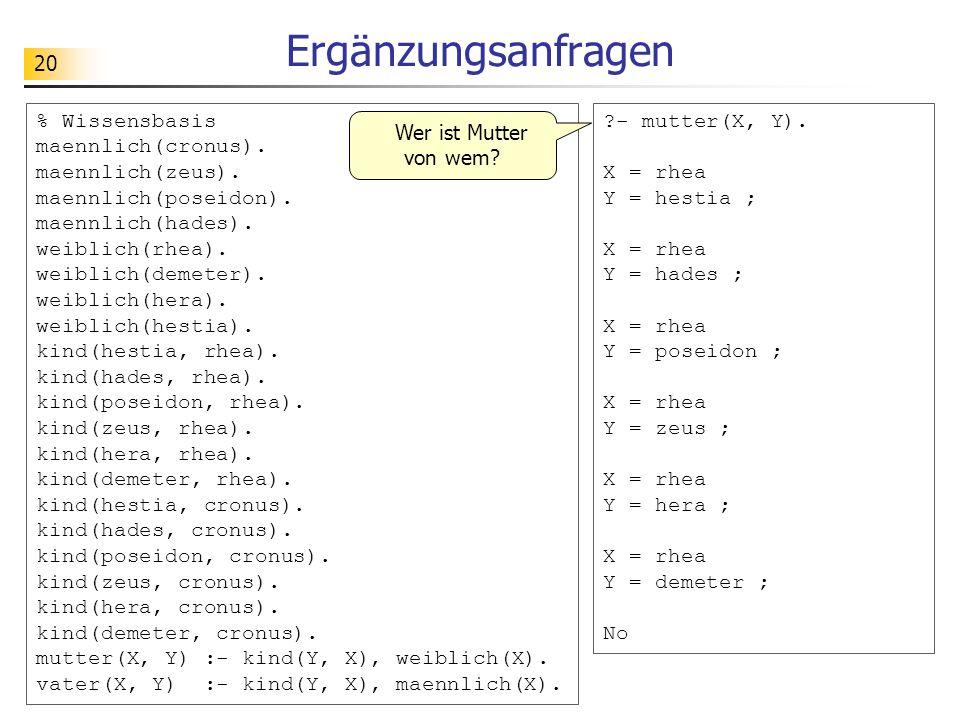 20 Ergänzungsanfragen % Wissensbasis maennlich(cronus). maennlich(zeus). maennlich(poseidon). maennlich(hades). weiblich(rhea). weiblich(demeter). wei