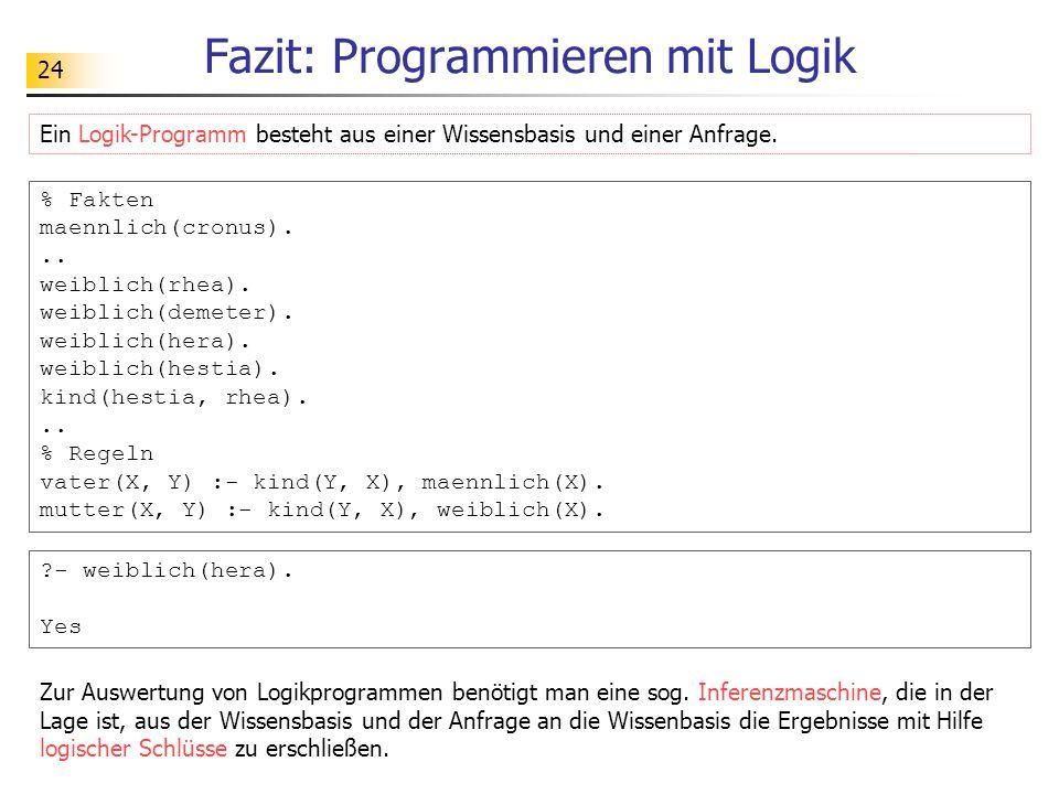 24 Fazit: Programmieren mit Logik % Fakten maennlich(cronus)... weiblich(rhea). weiblich(demeter). weiblich(hera). weiblich(hestia). kind(hestia, rhea