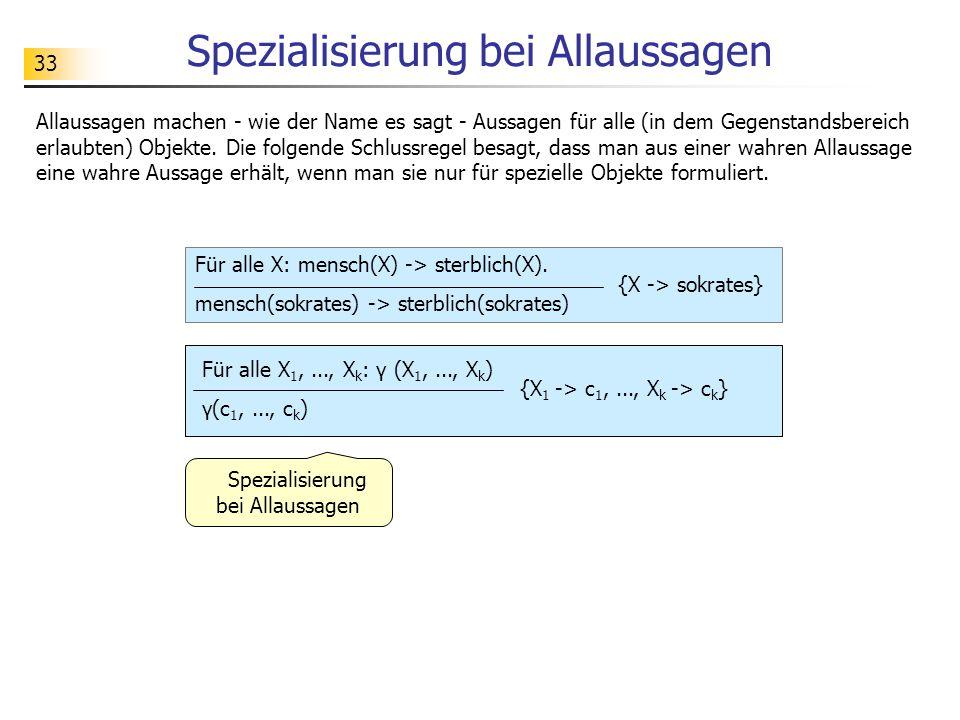 33 Spezialisierung bei Allaussagen Für alle X 1,..., X k : γ (X 1,..., X k ) γ(c 1,..., c k ) Allaussagen machen - wie der Name es sagt - Aussagen für