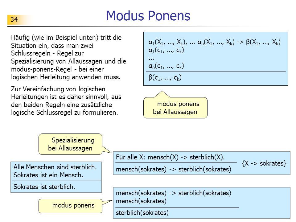 34 Modus Ponens α 1 (X 1,..., X k ),... α n (X 1,..., X k ) -> β(X 1,..., X k ) α 1 (c 1,..., c k )... α n (c 1,..., c k ) β(c 1,..., c k ) Häufig (wi