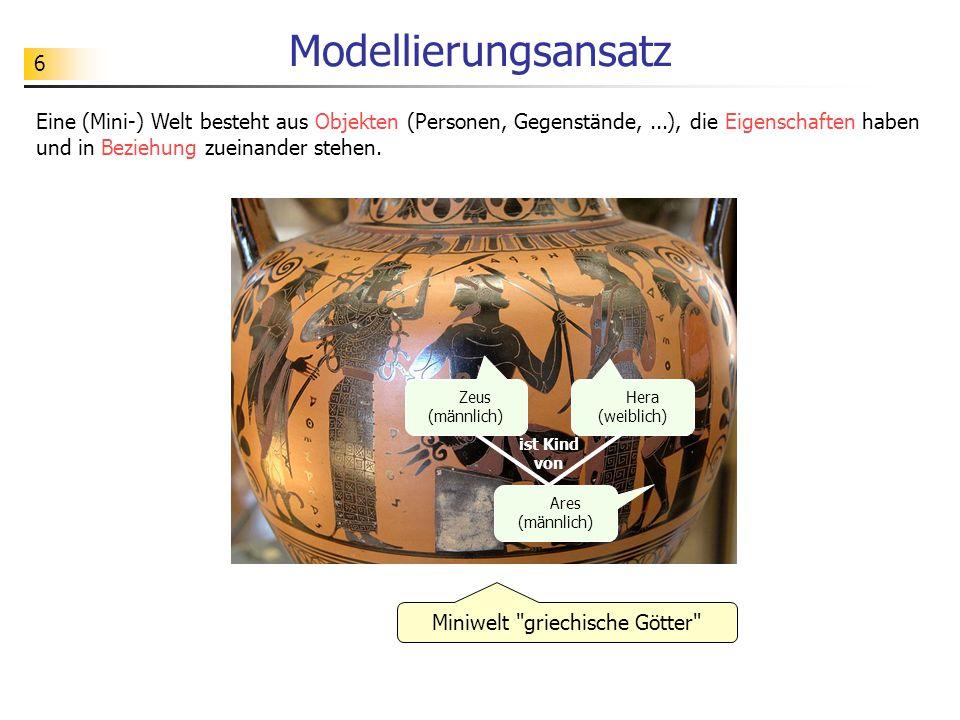 6 Modellierungsansatz Eine (Mini-) Welt besteht aus Objekten (Personen, Gegenstände,...), die Eigenschaften haben und in Beziehung zueinander stehen.