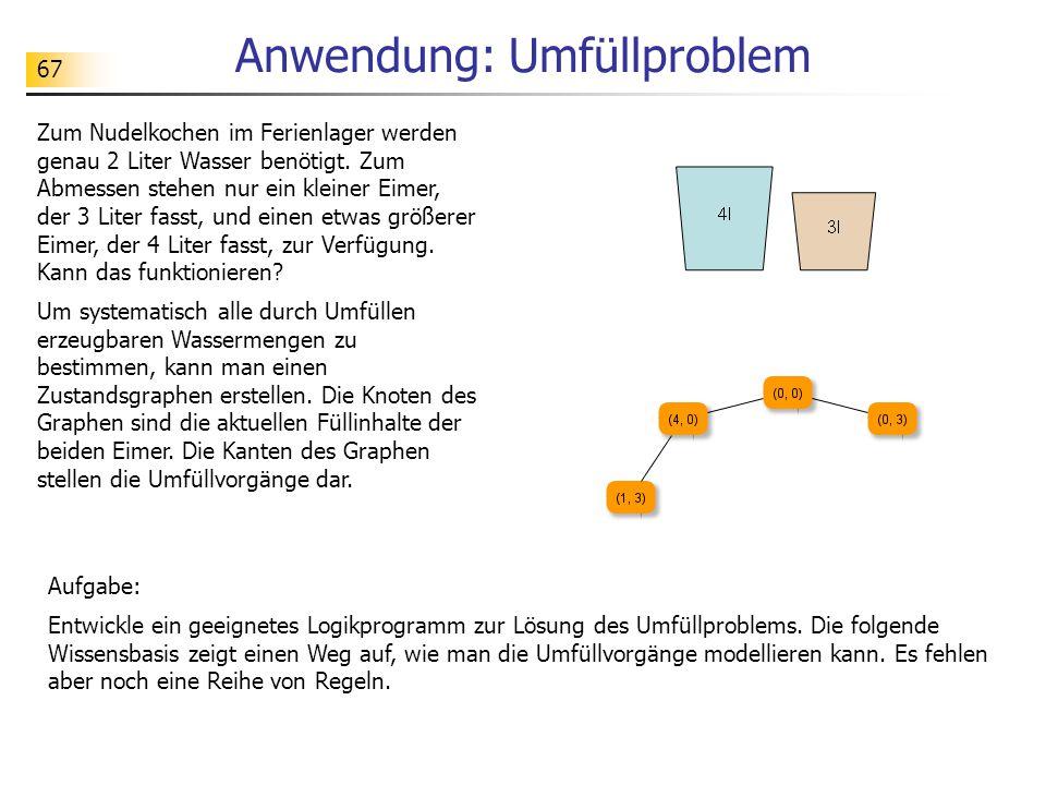 67 Anwendung: Umfüllproblem Aufgabe: Entwickle ein geeignetes Logikprogramm zur Lösung des Umfüllproblems. Die folgende Wissensbasis zeigt einen Weg a