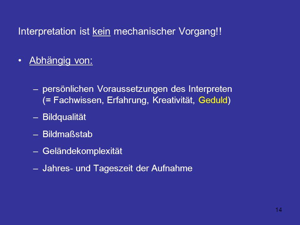 14 Interpretation ist kein mechanischer Vorgang!! Abhängig von: –persönlichen Voraussetzungen des Interpreten (= Fachwissen, Erfahrung, Kreativität, G