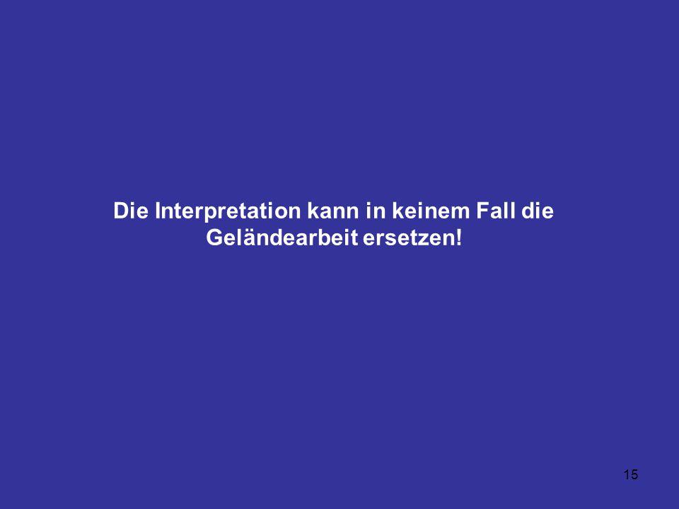 15 Die Interpretation kann in keinem Fall die Geländearbeit ersetzen!