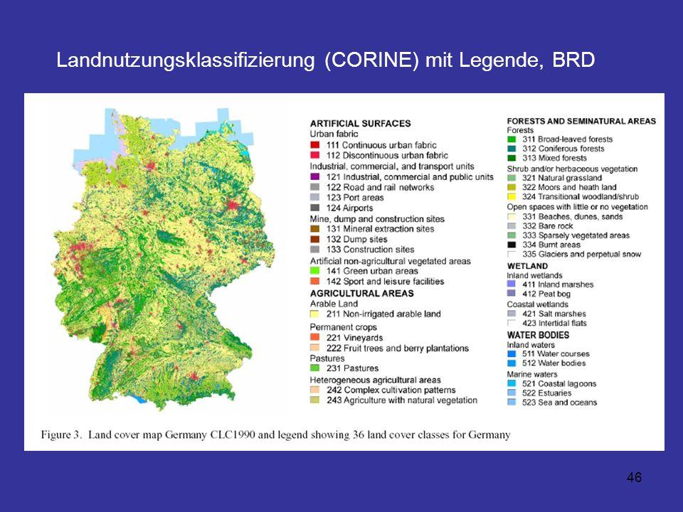 46 Landnutzungsklassifizierung (CORINE) mit Legende, BRD