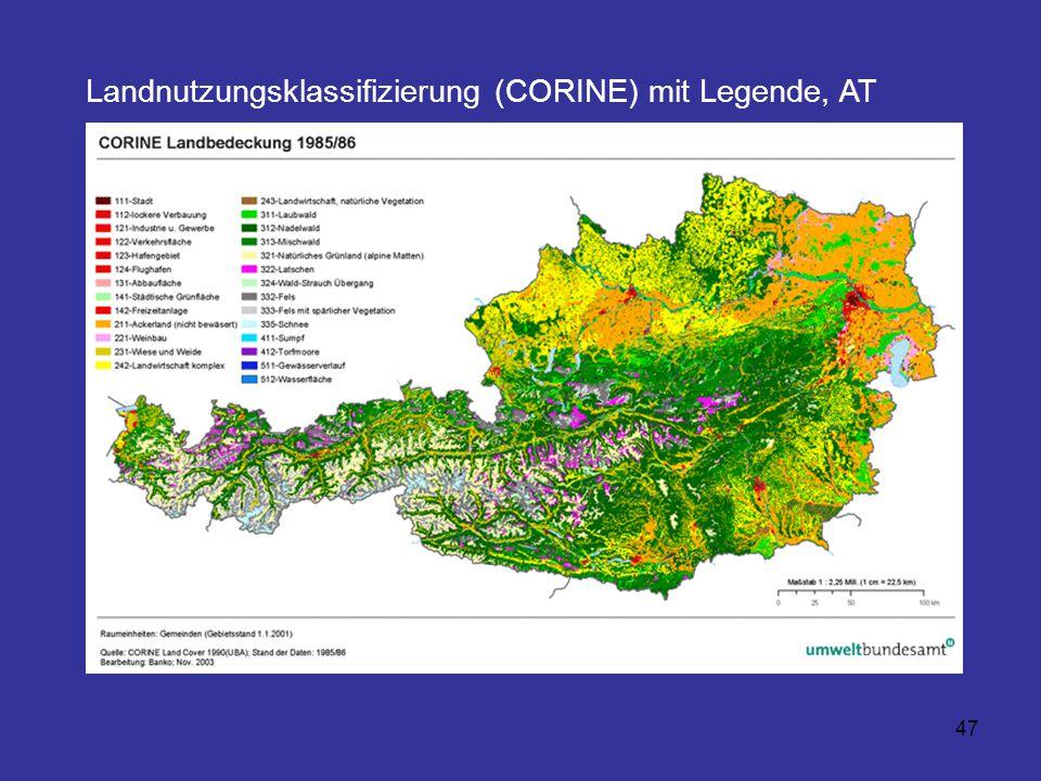 47 Landnutzungsklassifizierung (CORINE) mit Legende, AT