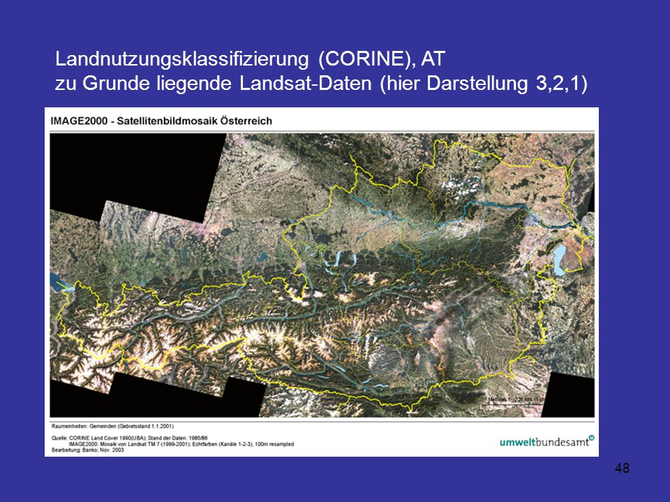 48 Landnutzungsklassifizierung (CORINE), AT zu Grunde liegende Landsat-Daten (hier Darstellung 3,2,1)