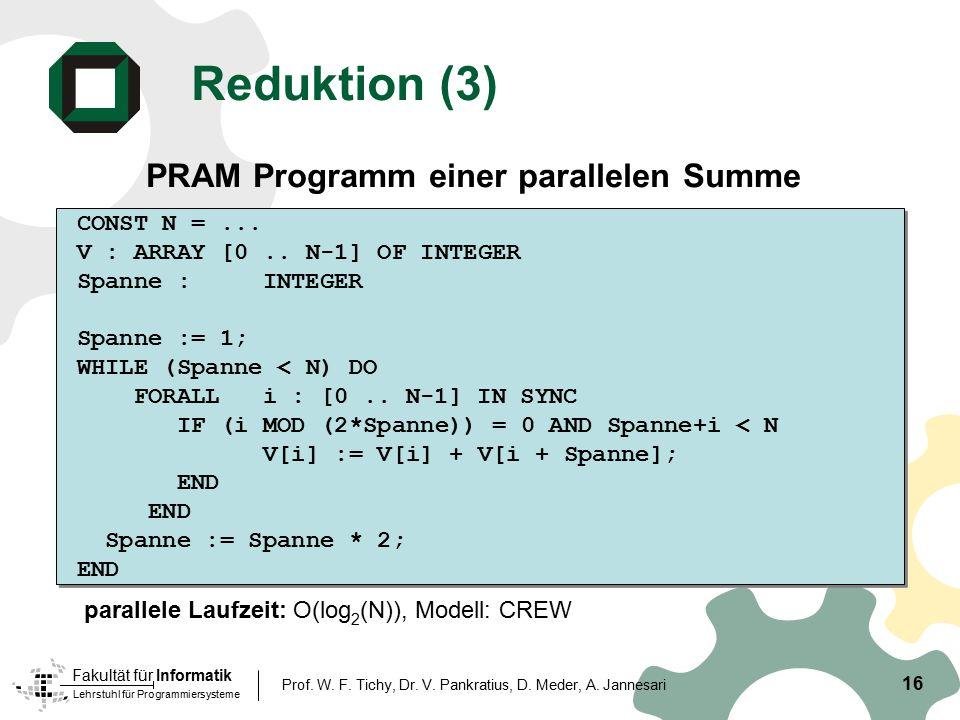 Lehrstuhl für Programmiersysteme Fakultät für Informatik 16 Prof. W. F. Tichy, Dr. V. Pankratius, D. Meder, A. Jannesari Reduktion (3) PRAM Programm e