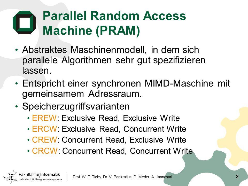 Lehrstuhl für Programmiersysteme Fakultät für Informatik 2 Prof. W. F. Tichy, Dr. V. Pankratius, D. Meder, A. Jannesari Parallel Random Access Machine