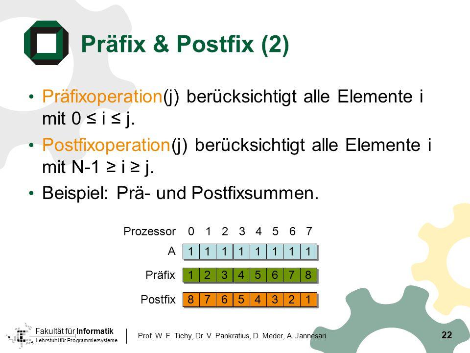 Lehrstuhl für Programmiersysteme Fakultät für Informatik 22 Prof. W. F. Tichy, Dr. V. Pankratius, D. Meder, A. Jannesari Präfix & Postfix (2) Präfixop