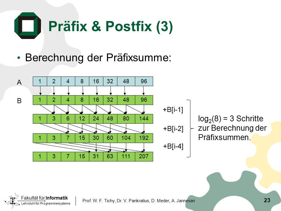 Lehrstuhl für Programmiersysteme Fakultät für Informatik Präfix & Postfix (3) Berechnung der Präfixsumme: 23 Prof. W. F. Tichy, Dr. V. Pankratius, D.