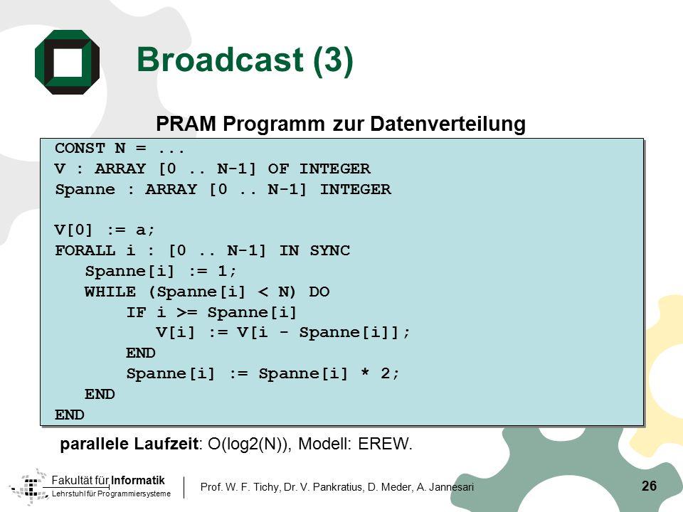 Lehrstuhl für Programmiersysteme Fakultät für Informatik 26 Prof. W. F. Tichy, Dr. V. Pankratius, D. Meder, A. Jannesari Broadcast (3) PRAM Programm z