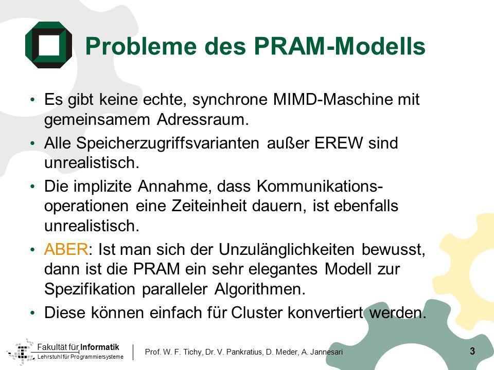 Lehrstuhl für Programmiersysteme Fakultät für Informatik 3 Prof. W. F. Tichy, Dr. V. Pankratius, D. Meder, A. Jannesari Probleme des PRAM-Modells Es g