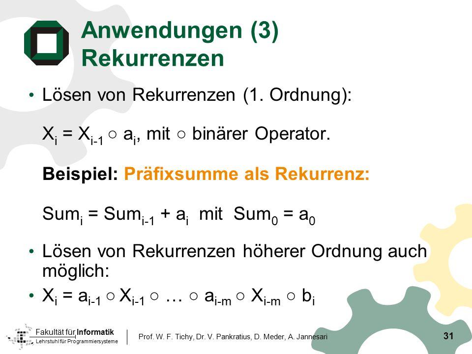 Lehrstuhl für Programmiersysteme Fakultät für Informatik 31 Prof. W. F. Tichy, Dr. V. Pankratius, D. Meder, A. Jannesari Anwendungen (3) Rekurrenzen L