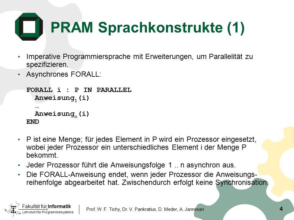 Lehrstuhl für Programmiersysteme Fakultät für Informatik 4 Prof. W. F. Tichy, Dr. V. Pankratius, D. Meder, A. Jannesari PRAM Sprachkonstrukte (1) Impe