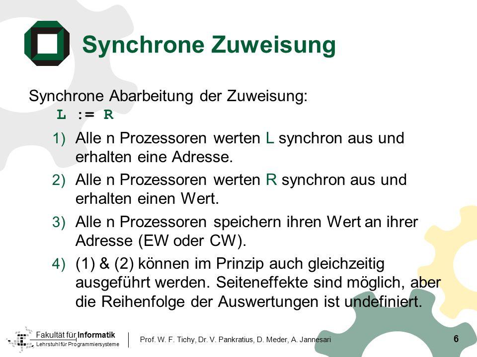Lehrstuhl für Programmiersysteme Fakultät für Informatik 6 Prof. W. F. Tichy, Dr. V. Pankratius, D. Meder, A. Jannesari Synchrone Zuweisung Synchrone