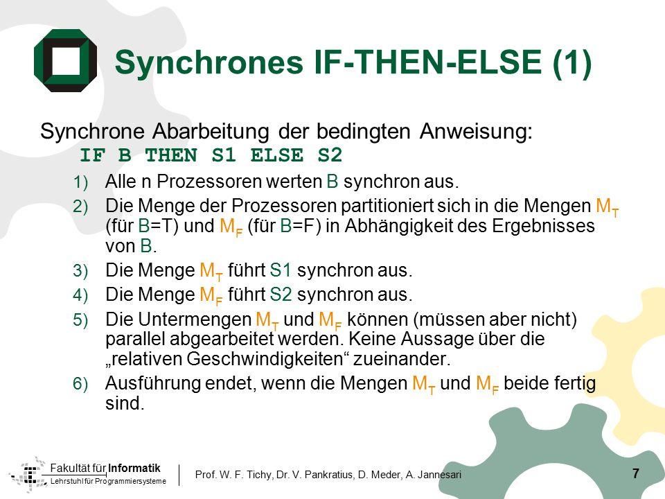 Lehrstuhl für Programmiersysteme Fakultät für Informatik 7 Prof. W. F. Tichy, Dr. V. Pankratius, D. Meder, A. Jannesari Synchrones IF-THEN-ELSE (1) Sy