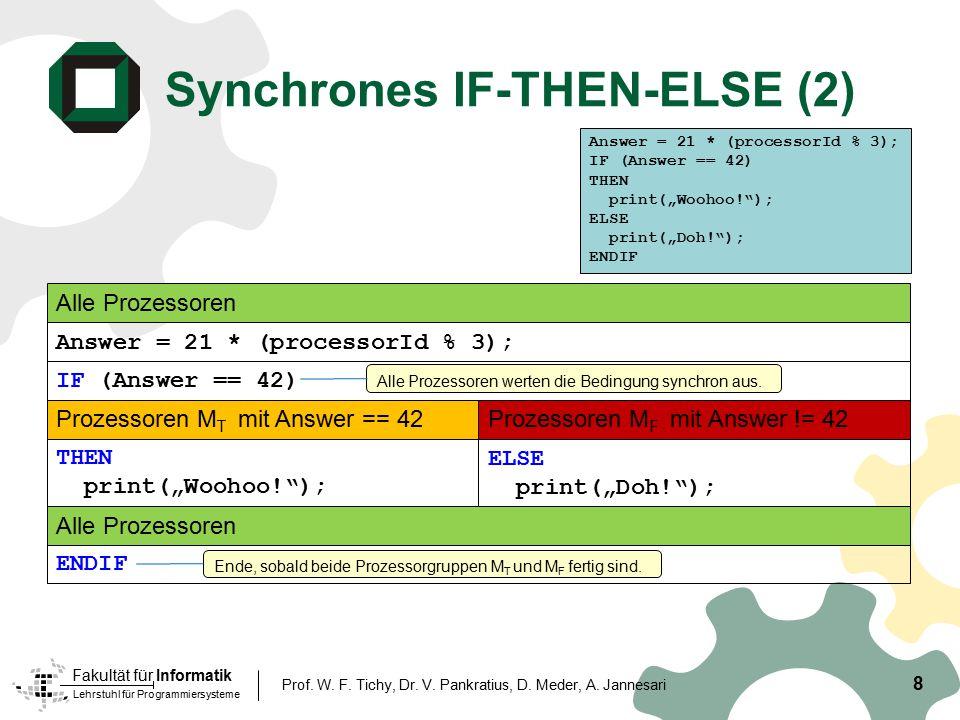 Lehrstuhl für Programmiersysteme Fakultät für Informatik Synchrones IF-THEN-ELSE (2) 8 Prof. W. F. Tichy, Dr. V. Pankratius, D. Meder, A. Jannesari IF
