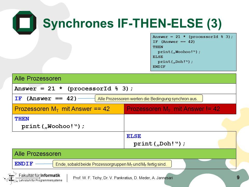 Lehrstuhl für Programmiersysteme Fakultät für Informatik Synchrones IF-THEN-ELSE (3) 9 Prof. W. F. Tichy, Dr. V. Pankratius, D. Meder, A. Jannesari IF