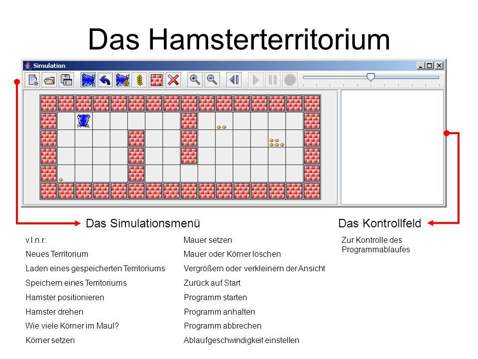 Das Hamsterterritorium v.l.n.r: Neues Territorium Laden eines gespeicherten Territoriums Speichern eines Territoriums Hamster positionieren Hamster dr