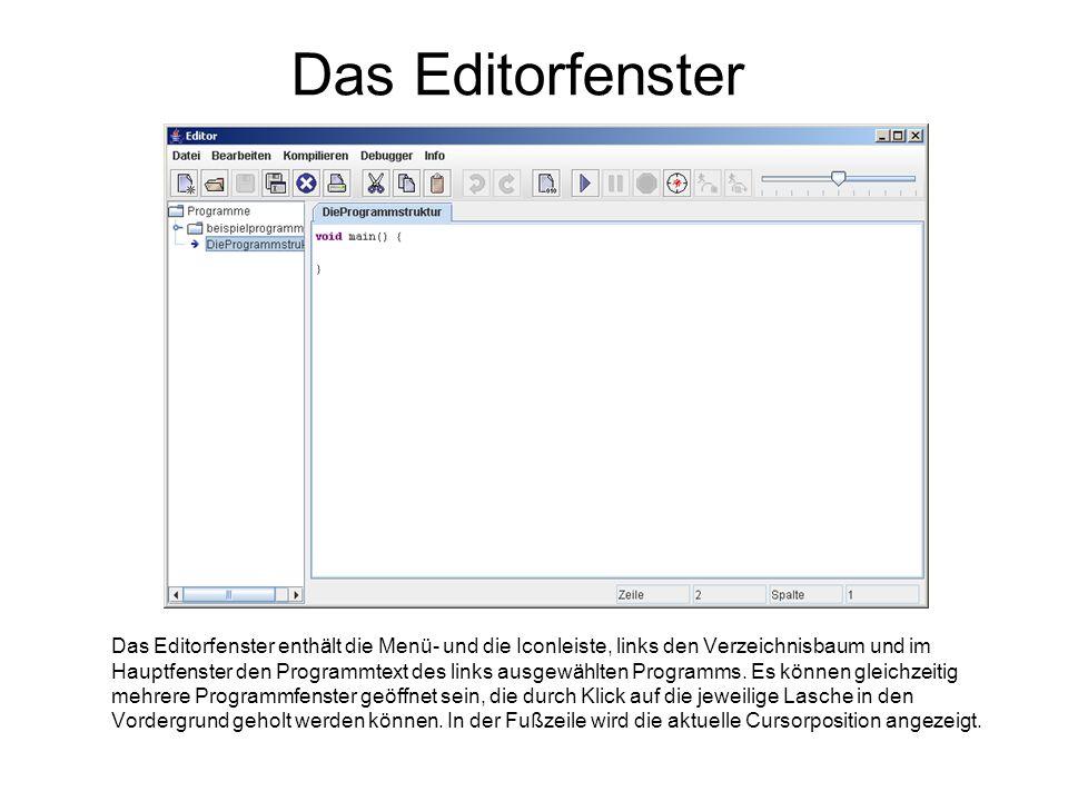 Das Editorfenster Das Editorfenster enthält die Menü- und die Iconleiste, links den Verzeichnisbaum und im Hauptfenster den Programmtext des links aus