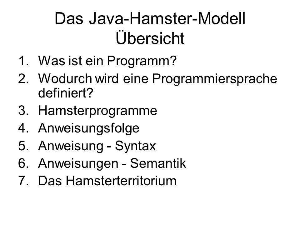 Das Java-Hamster-Modell Übersicht 1.Was ist ein Programm? 2.Wodurch wird eine Programmiersprache definiert? 3.Hamsterprogramme 4.Anweisungsfolge 5.Anw