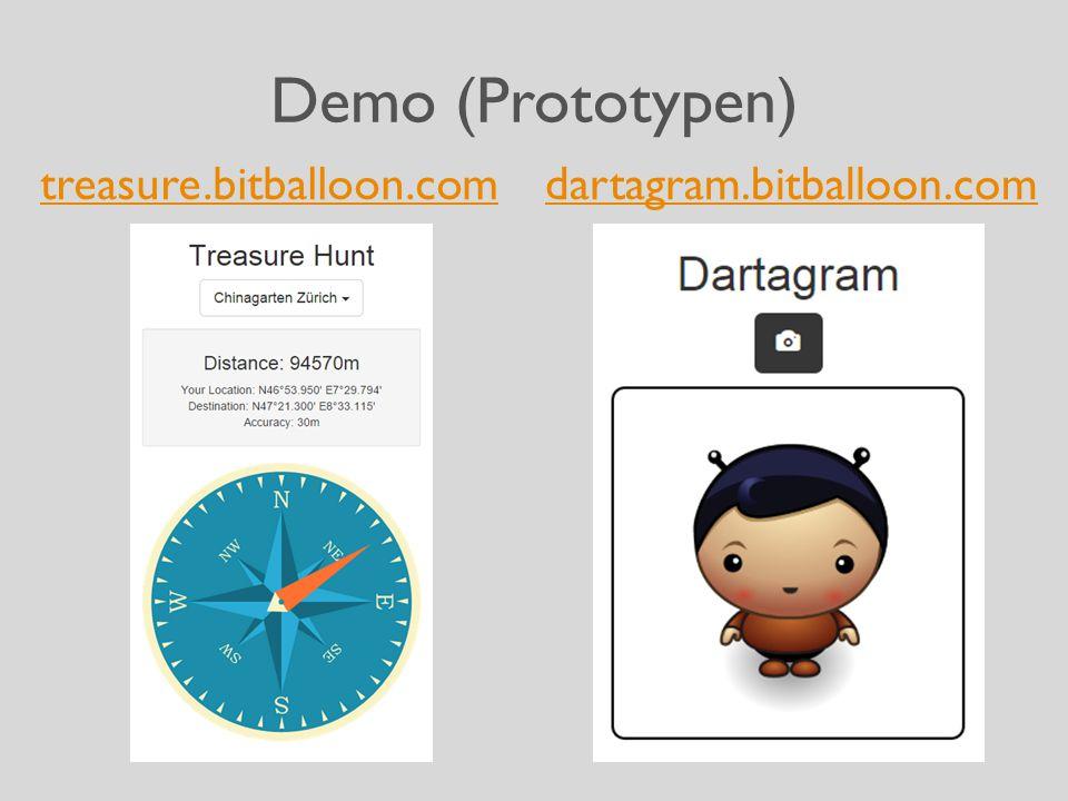 Demo (Prototypen) treasure.bitballoon.comdartagram.bitballoon.com