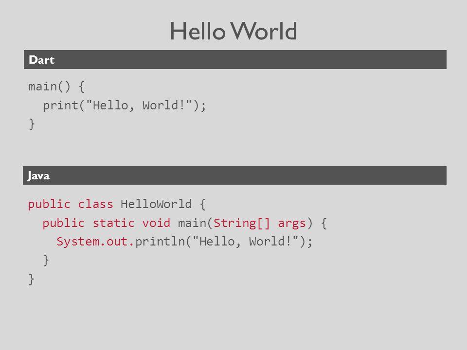 Hello World main() { print( Hello, World! ); } public class HelloWorld { public static void main(String[] args) { System.out.println( Hello, World! ); } Dart Java