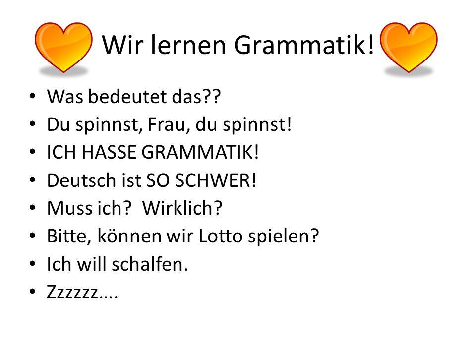 Wir lernen Grammatik.Was bedeutet das?. Du spinnst, Frau, du spinnst.