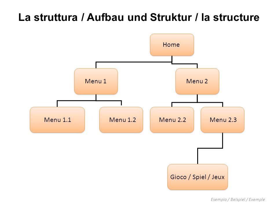 Home Menu 1 Menu 2 Menu 2.2 Menu 2.3 Menu 1.1 Menu 1.2 Gioco / Spiel / Jeux Esempio / Beispiel / Exemple La struttura / Aufbau und Struktur / la structure