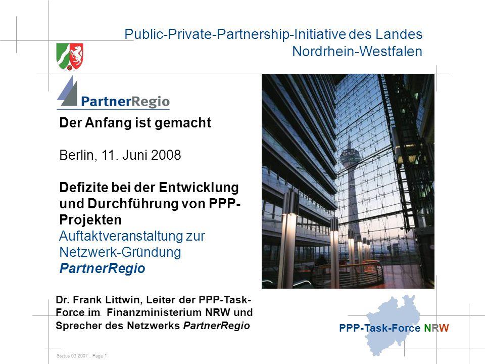Status 03.2007, Page 2 PPP-Task-Force NRW Inhalt 1.