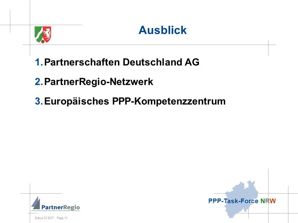 Status 03.2007, Page 10 PPP-Task-Force NRW Ausblick 1.Partnerschaften Deutschland AG 2.PartnerRegio-Netzwerk 3.Europäisches PPP-Kompetenzzentrum