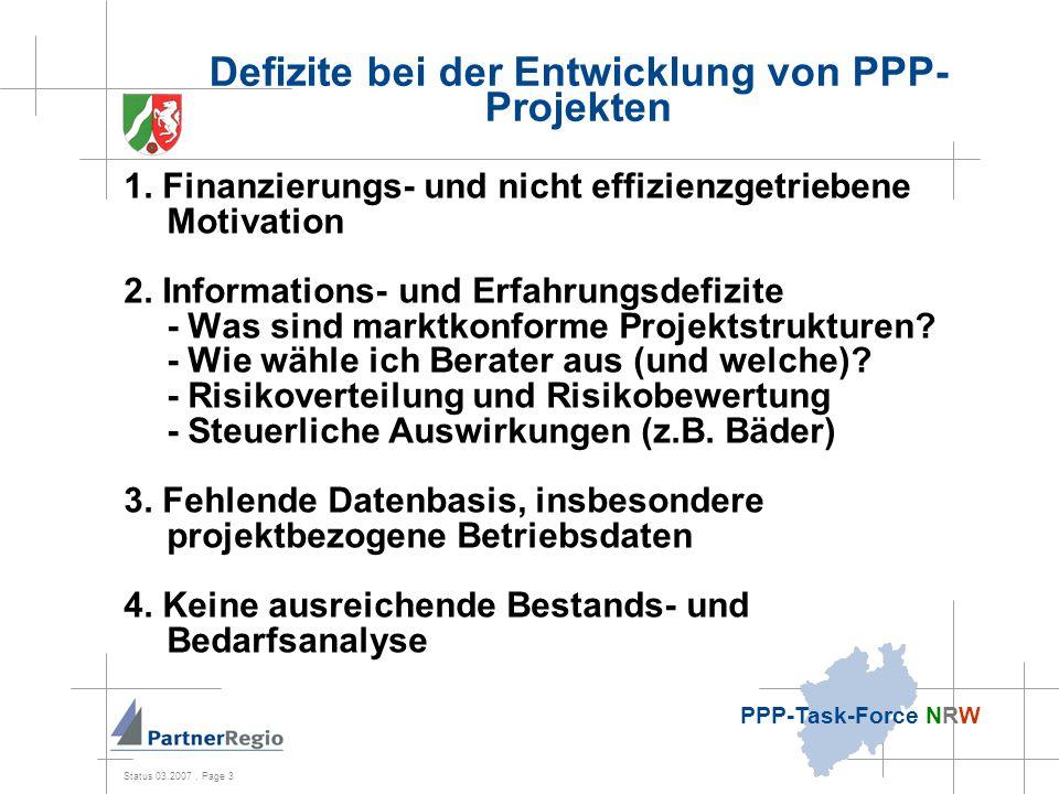 Status 03.2007, Page 3 PPP-Task-Force NRW Defizite bei der Entwicklung von PPP- Projekten 1.